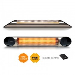 Incalzitor terasa Veito Blade 2kW, fibra Carbon, Aluminiu, Telecomanda, 4 Trepte, Afisaj LED, buton Touch, IP55, Silver