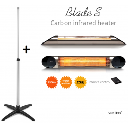 Stand + Incalzitor terasa Veito Blade S 2,5kW, fibra Carbon, Aluminiu, Telecomanda, Timer, Termostat, Afisaj LED, IP55, Argintiu