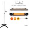 Incalzitor terasa Veito Blade S 2,5kW, fibra Carbon, Aluminiu, Telecomanda, Timer, Termostat, Afisaj LED, IP55, Argintiu