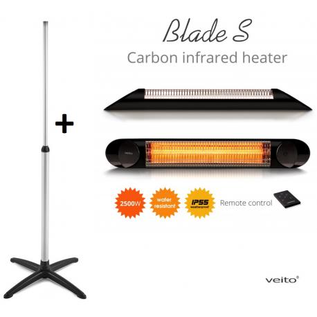 Incalzitor terasa Veito Blade S 2,5kW, fibra Carbon, Aluminiu, Timer, Termostat, Telecomanda, Afisaj LED, IP55, Negru